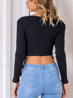 Black V-neck Eyelet Lace Up Long Sleeve Chic Women Knit Crop Blouse
