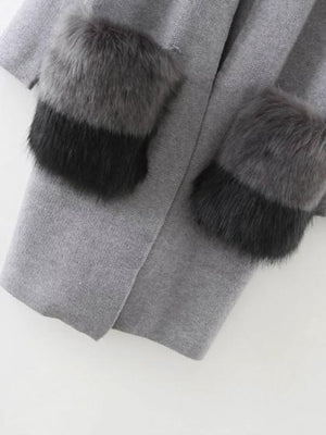 Gray Faux Fur Pocket Open Front Longline Cardigan