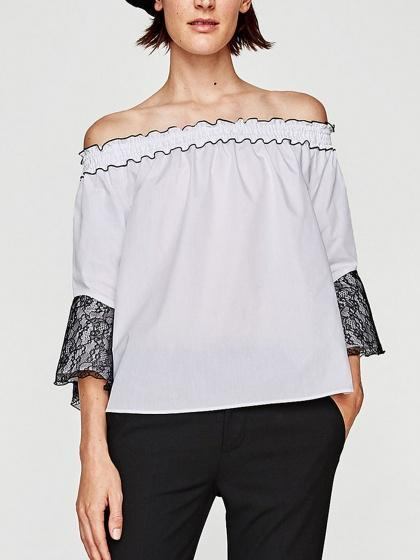 White Off Shoulder Contrast Lace Flare Sleeve Blouse