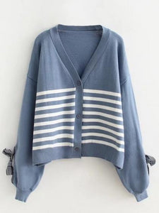 Blue Stripe Bow Sleeve Button Placket Cardigan