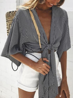 Black Stripe Plunge Tie Front Crop Top