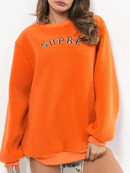 Orange Letter Print Long Sleeve Women Sweatshirt
