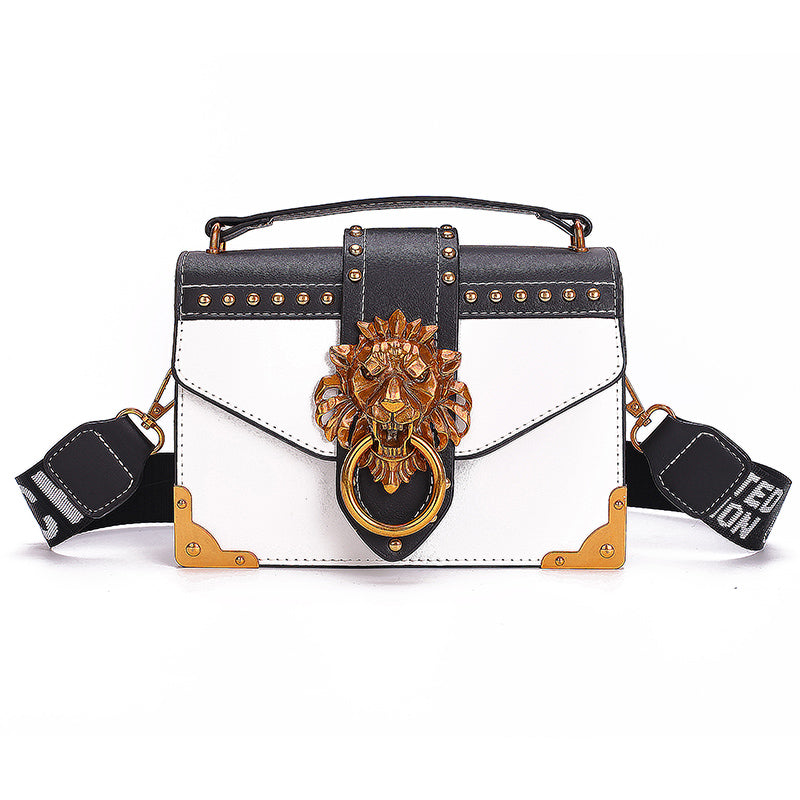 Fashion Metal Lion Head Mini Square Crossbody Shoulder Bag