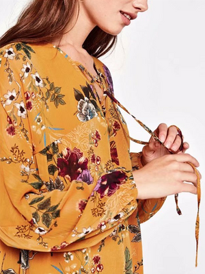 Yellow Lace Up Front Print Detail Flare Sleeve Bouse