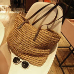 Rattan Woven Handmade Knitted Straw Totes Summer Beach Bag