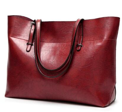 Premium Leather Oil Waxed Large Size Casual Handbag