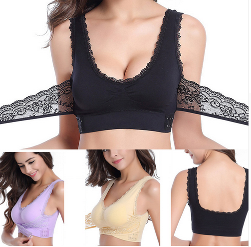Front Cross Side Buckle Wireless Push Up Lace Bra