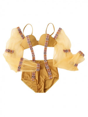 Yellow Argyle Print Strap Panel Removable Puff Sleeve Swimsuit