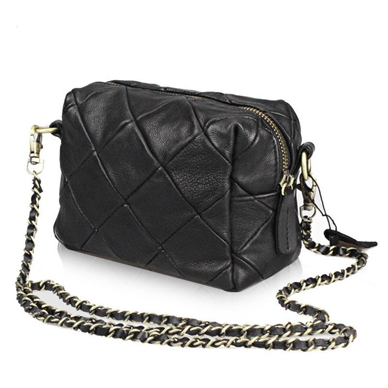Sheepskin patchwork mini messenger bag Genuine leather chain Shoulder bag for Women's Crossbody Bags bolsas little bag ladies