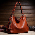 Retro Tassel Pendant Leather Shoulder Handbag