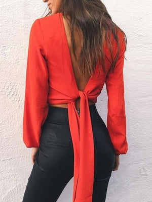 Red V-neck Bow Tie Detail Open Back Long Sleeve Blouse