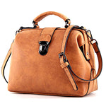 Vintage Leather Handbag Retro Doctor Messenger Bag