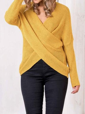 Yellow V-neck Long Sleeve Chic Women Knit Sweater