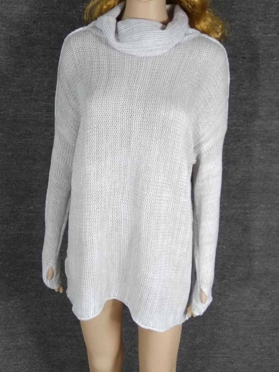 Gray High Neck Drop Shoulder Knit Sweater