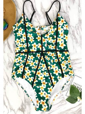 Green V-neck Floral Print Open Back One-piece Swimsuit
