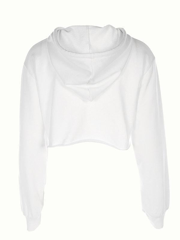 White Drawstring Rose Print Long Sleeve Cropped Hoodie