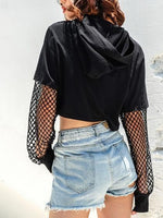 Black Cotton Letter Print Fishnet Panel Chic Women Crop Hoodie