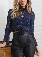 Blue Chiffon Stand Collar Star Print Long Sleeve Chic Women Blouse
