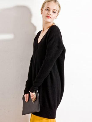 Black V-neck Long Sleeve Longline Knit Sweater