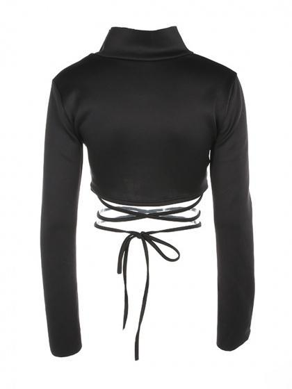 Black High Neck Cut Out Tie Stripe Flare Sleeve Crop Top