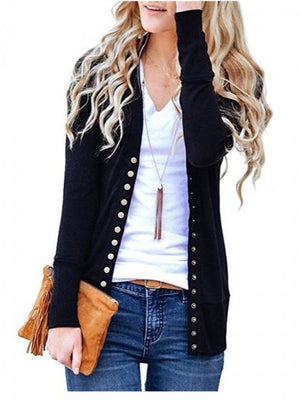 Black Cotton Button Placket Front Long Sleeve Cardigan
