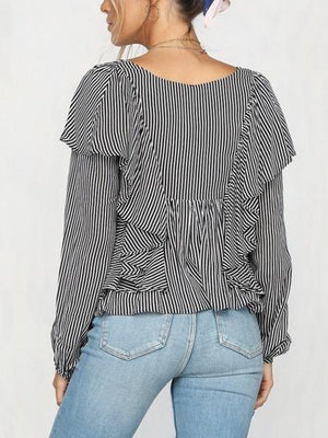 Black Stripe Chiffon V-neck Ruffle Trim Long Sleeve Women Shirt