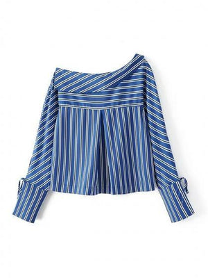 Blue Stripe One Shoulder Tie Sleeve Shirt