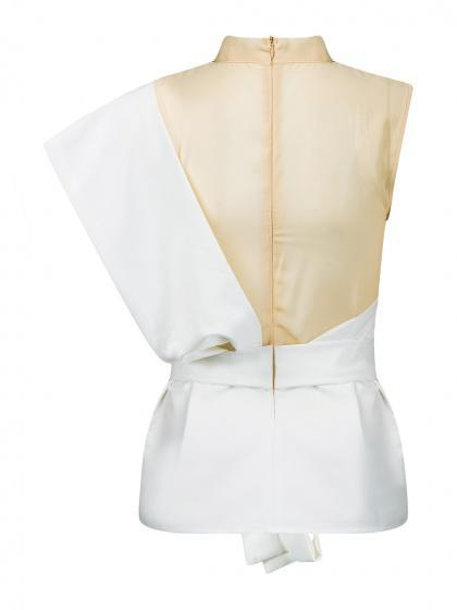 White Contrast Sheer Mesh Panel Tie Waist Peplum Hem Top