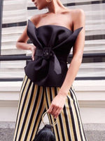 Black Cotton Blend Bandeau Buckle Strap Waist Chic Women Blouse