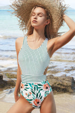Green Stripe Floral Print One-piece Swimsuit
