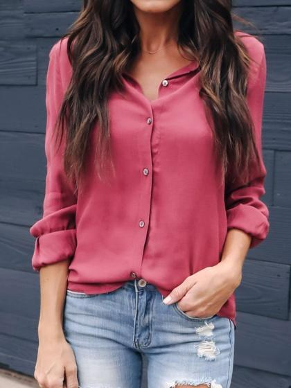 Burgundy Button Placket Front Long Sleeve Chic Women Shirt