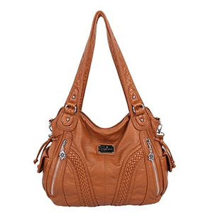 Top Handle Satchel Messenger Washed Leather Handbag