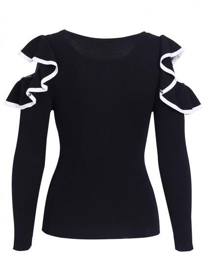 Black Cold Shoulder Ruffle Long Sleeve Knit Jumper