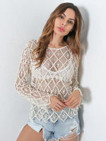 Khaki Round Neck Crochet Lace Panel Long Sleeve Blouse