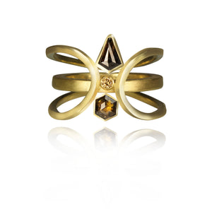 Heavy ornamental 18k yellow gold ring with geometric brown diamonds.