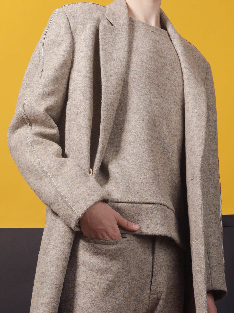 CLAY– MELANGE JERSEY COAT