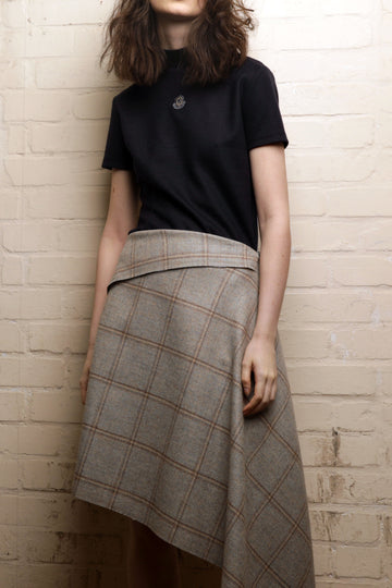 SALLY – CHECK TWEED DRAPED SKIRT