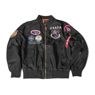US Airforce Flight Academy Top Gun Bomber Jacket Thin URBAN INFLUX Black XXS