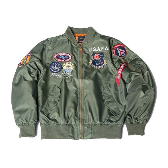 US Airforce Flight Academy Top Gun Bomber Jacket Thin URBAN INFLUX green XXS