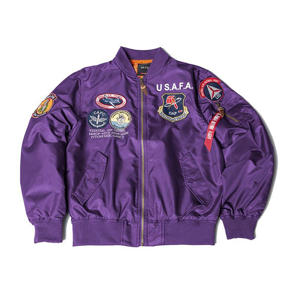 US Airforce Flight Academy Top Gun Bomber Jacket Thin URBAN INFLUX Purple XXS