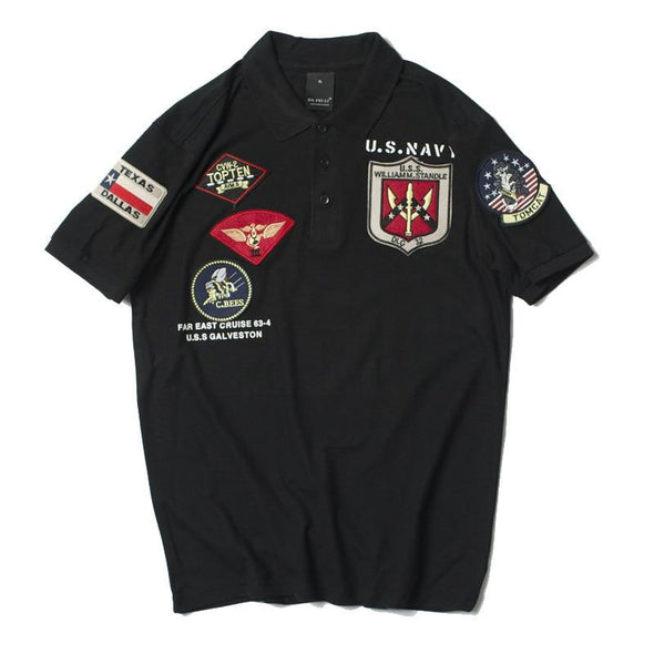 US Navy Top Gun Polo Shirt URBAN INFLUX Black XXL