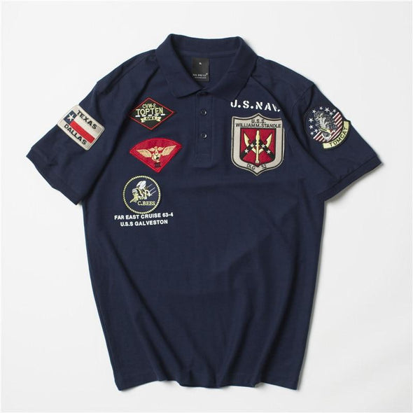 US Navy Top Gun Polo Shirt URBAN INFLUX Blue L
