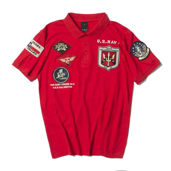 US Navy Top Gun Polo Shirt URBAN INFLUX Red S