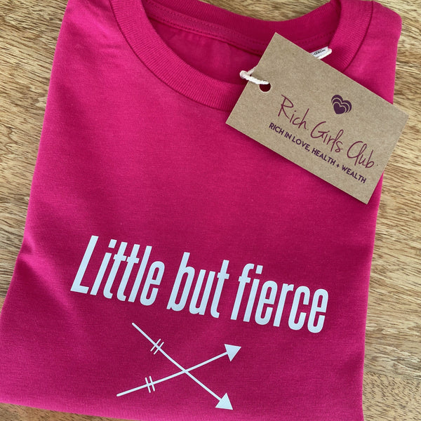 Little But Fierce Organic Cotton Kids T-shirt (Pink)