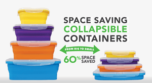 Flat Stacks Space Saving Collapsible Silicone Containers go from big to small to save you 60% of your kitchen space