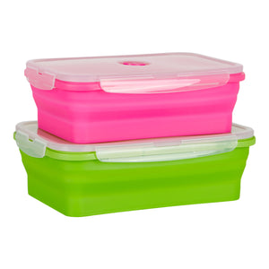 Flat Stacks Collapsible Silicone Storage Containers Rectangle Large Rectangle Set Expanded