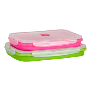 Flat Stacks Collapsible Silicone Storage Containers Rectangle Large Rectangle Set Collapsed