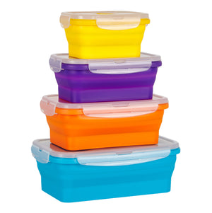 Flat Stacks Collapsible Silicone Food Storage Containers Medium and Small Rectangle Set Expanded