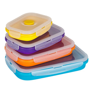 Flat Stacks Collapsible Silicone Food Storage Containers Rectangle Large Rectangle Set Fanned