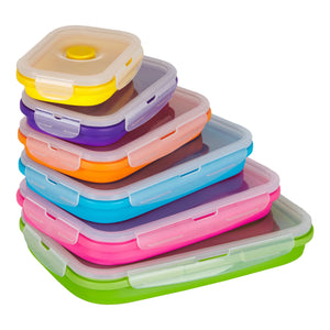 Flat Stacks Collapsible Silicone Tupperware Storage Containers Rectangle Value Bundle Pack 6 sizes Stacked and Fanned